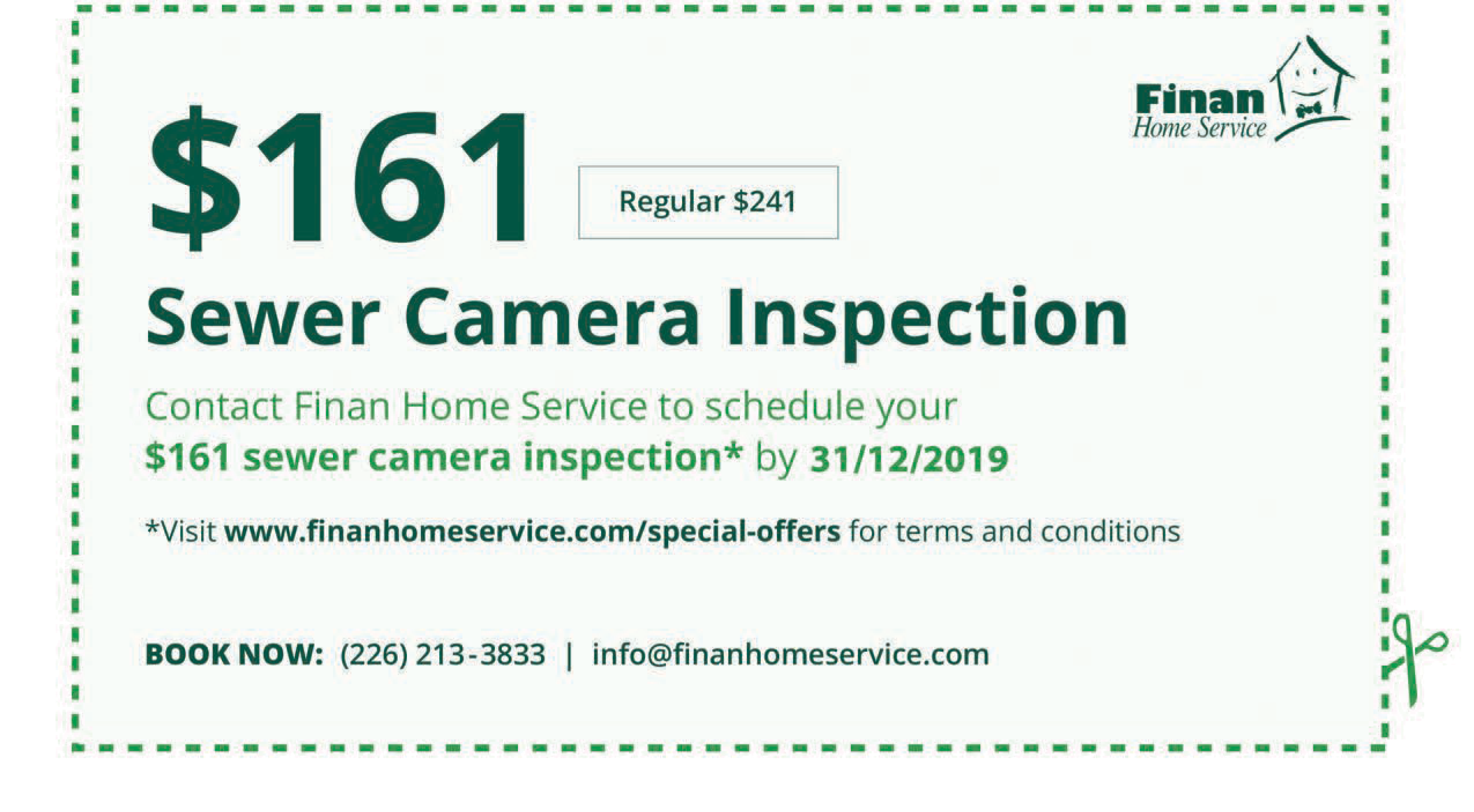 $161 Sewer Camera Inspection
